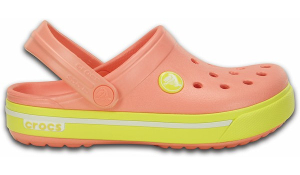 Kids Crocband 2.5 Clog, Melon/Chartreuse 1