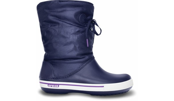 Crocband 2.5 Lace Boot, Nautical Navy/Neon Purple 1