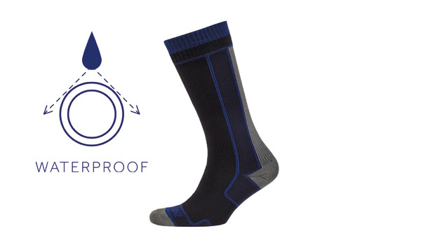 Thin Mid Length Sock, Black/Blue 1