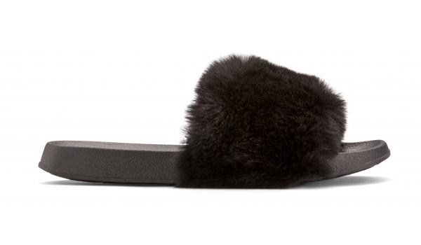 Furry Pantolette, Black 1