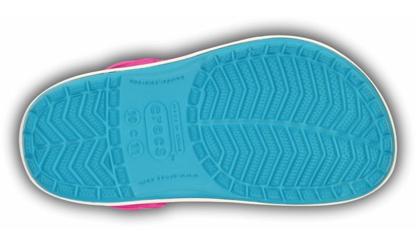 Kids Crocband White, Surf/Neon Magenta 3