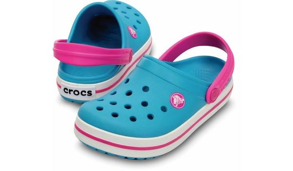 Kids Crocband White, Surf/Neon Magenta 4