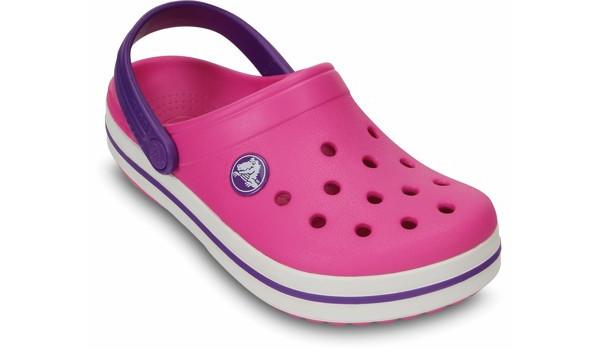 Kids Crocband White, Neon Magenta/Neon Purple 5