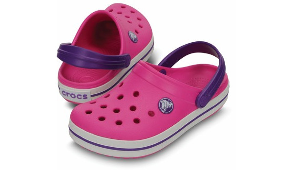 Kids Crocband White, Neon Magenta/Neon Purple 4
