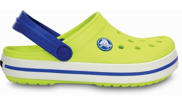 Kids Crocband White, Citrus/Sea Blue 1