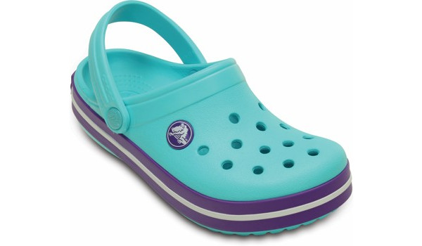 Kids Crocband White, Pool/Neon Purple 5