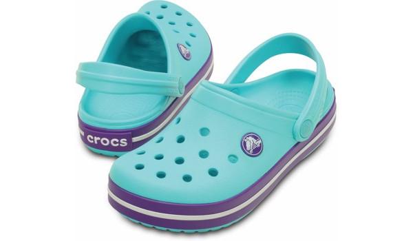 Kids Crocband White, Pool/Neon Purple 4