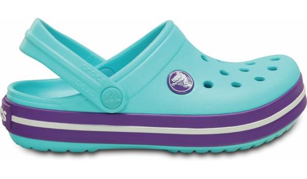 Kids Crocband White, Pool/Neon Purple 1