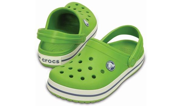 Kids Crocband White, Parrot Green/White 4