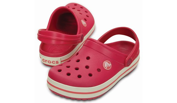 Kids Crocband, Raspberry/White 4