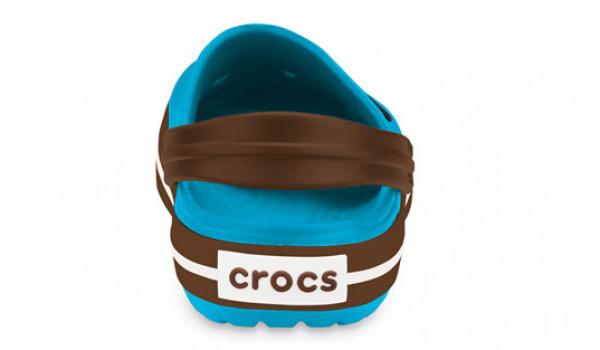 Kids Crocband White, Electric Blue/Brown 2