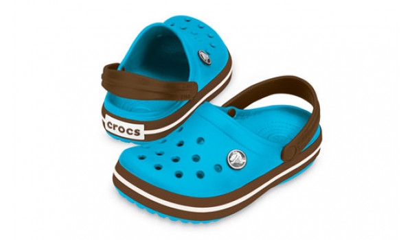 Kids Crocband White, Electric Blue/Brown 4