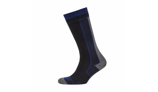 Thin Mid Length Sock, Black/Blue 2