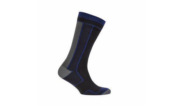 Thin Mid Length Sock, Black/Blue 4