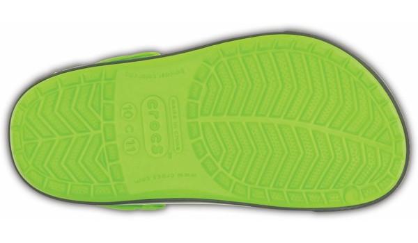 Kids Crocband 2.5 Clog, Volt Green/Charcoal 3