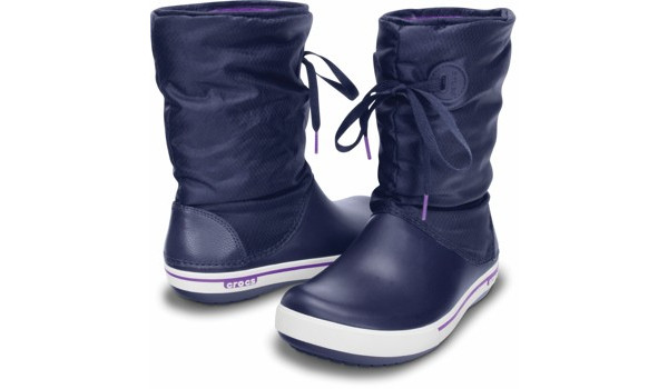 Crocband 2.5 Lace Boot, Nautical Navy/Neon Purple 4