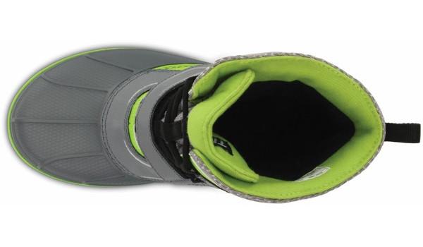 Kids AllCast Waterproof Boot, Charcoal/Volt Green 6