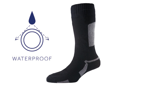 Thin Mid Length Sock, Black/Grey 1