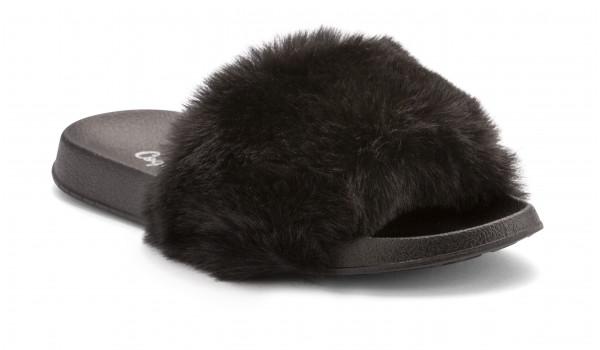 Furry Pantolette, Black 2