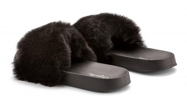 Furry Pantolette, Black 3