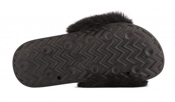 Furry Pantolette, Black 4