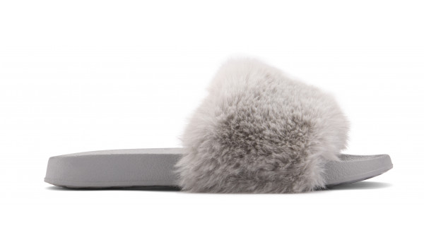 Furry Pantolette, Khaki 1