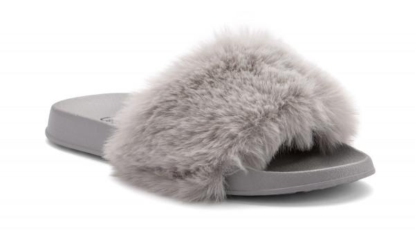 Furry Pantolette, Khaki 2