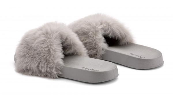 Furry Pantolette, Khaki 3