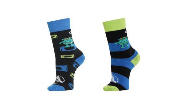 Crocs Socks Back to School Boys 2er-Pack, Sea Blue/Lime 1
