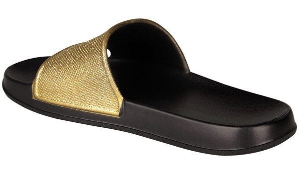 Tora Slide Glitter, Black/Gold 2