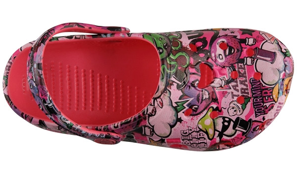 Kids Big Frog Printed Clog, New Rouge 5