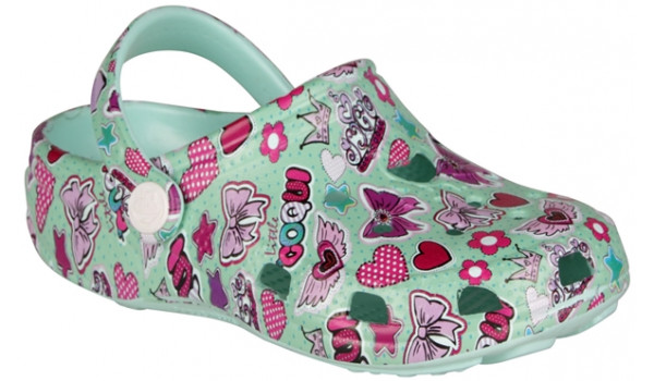 Kids Big Frog Printed Clog, Light Mint 4