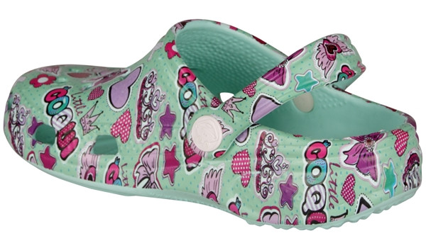 Kids Big Frog Printed Clog, Light Mint 2