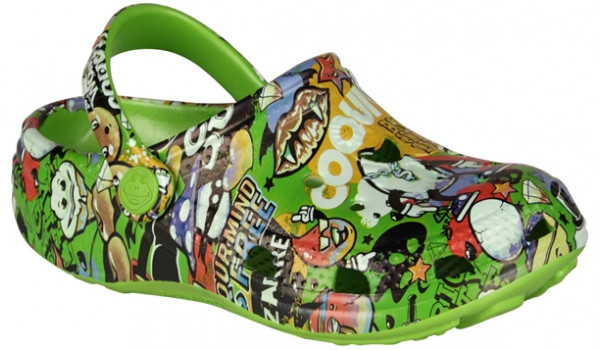 Kids Big Frog Printed Clog, Lime 4