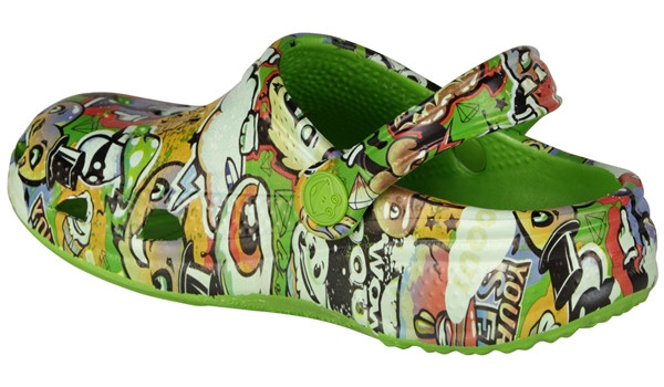 Kids Big Frog Printed Clog, Lime 2