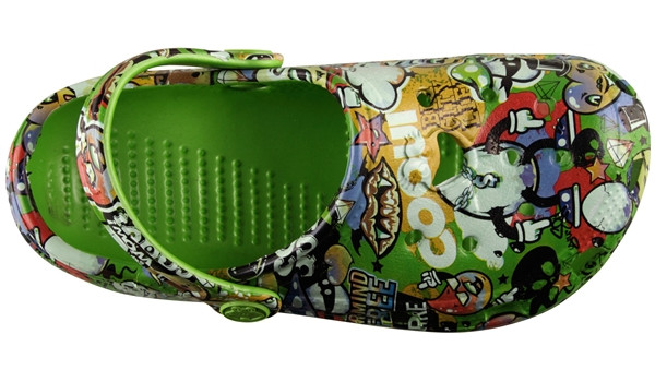 Kids Big Frog Printed Clog, Lime 5