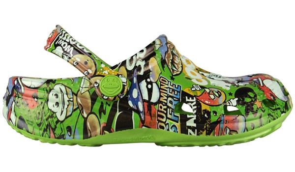 Kids Big Frog Printed Clog, Lime 1