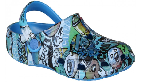 Kids Big Frog Printed Clog, Sea Blue 4
