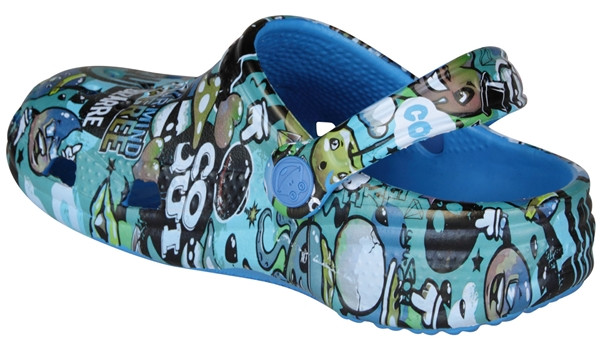 Kids Big Frog Printed Clog, Sea Blue 2