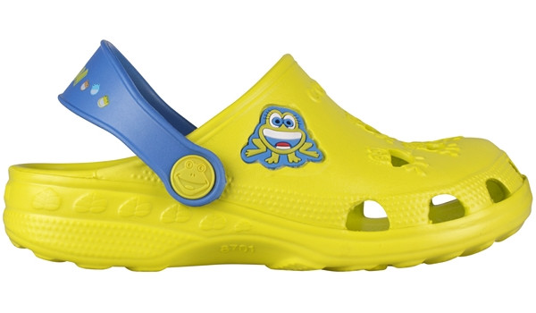Kids Little Frog Clog, Citrus/Royal 1