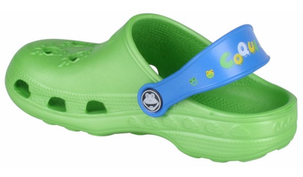 Kids Little Frog Clog, Lime/Royal 2