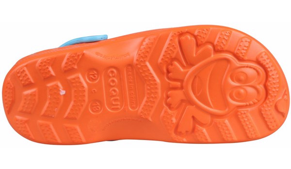 Kids Little Frog Clog, Orange/Blue 3