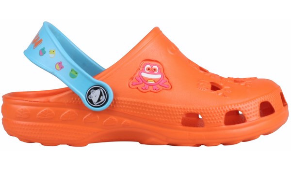 Kids Little Frog Clog, Orange/Blue 1