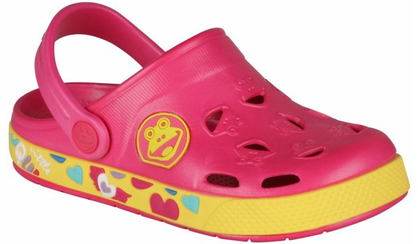 Kids Froggy Clog, Light Fuchsia/Yellow 4