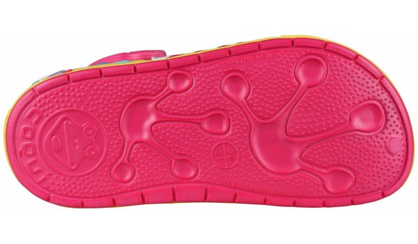 Kids Froggy Clog, Light Fuchsia/Yellow 3