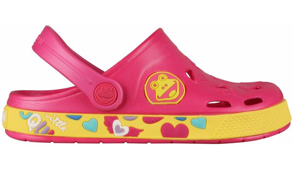 Kids Froggy Clog, Light Fuchsia/Yellow 1