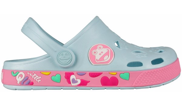 Kids Froggy Clog, Pastel Blue/Dark Pink 1