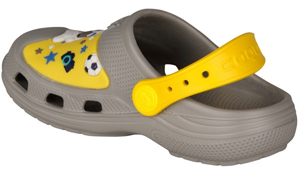 Kids Talking Tom & Friends Clog, Mid Grey/Yellow 2