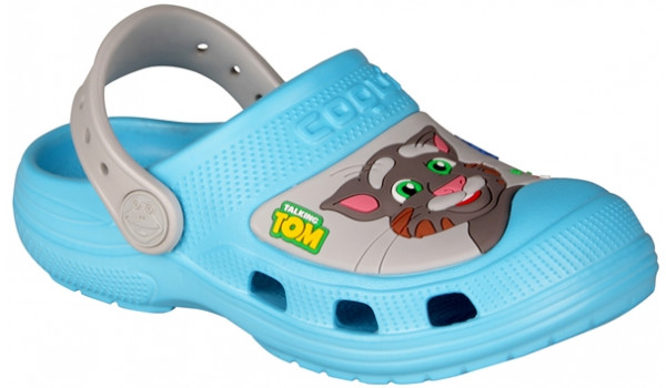 Kids Talking Tom & Friends Clog, New Blue/Stone 4