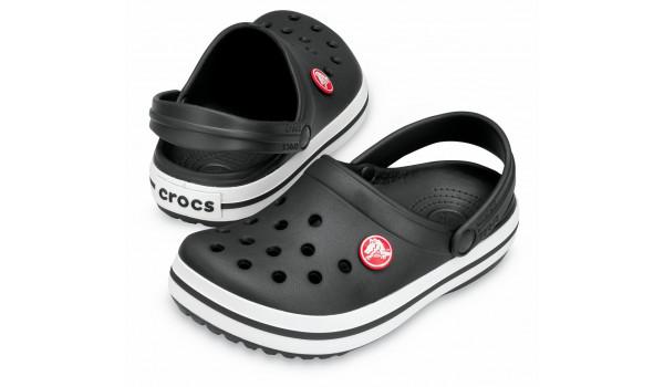 Kids Crocband White, Black/Black 4